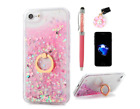 iPhone 8-Phone 7 Case, Flowing Liquid Floating Bling Glitter Ring Kickstand-Pink