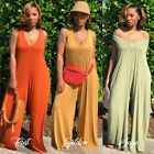 Women Sexy Deep V Hoodie Knitted Vest Romper Wide Leg Loose Casual Long Jumpsuit
