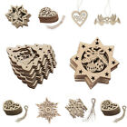 10pcs Wooden Christmas Decoration Tree Hanging Pendant Home Party Xmas Ornament