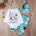 US Stock Newborn Baby Boy Long Sleeve Tops Romper Pants Hat Outfits Clothes Set