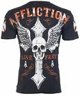 AFFLICTION Men T-Shirt LIVE FAST American Customs BLACK Motorcycle Biker $58 image