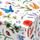 PVC TABLE CLOTH SPRING FLORAL BUTTERFLY LADYBIRD DRAGONFLY RED ORANGE WIPE ABLE