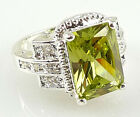 Fashion Women 925 Silver Jewelry Wedding Ring Emerald Cut Periot Ring Size 6