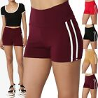 TheMogan Sporty Side Stripe High Waist Cotton Jersey Short Leggings Yoga Shorts