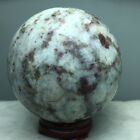 490g NATURAL PINK Red Tourmaline Crystal SPHERE BALL QUARTZ HEALING GEM +stand 1