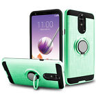 For LG Stylo 5/4 Plus Hybrid Slim Ring Stand Phone Case + Glass Screen Protector