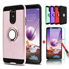 For Lg Stylo 5/4 Plus Hybrid Slim Ring Stand Phone Case / Glass Screen Protector