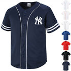 NY New York Yankees Button Jersey Baseball Team Open T-Shirts Sports Tee 0110