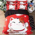 Fat Lovely Fortune Cat 3D Digital Print Bedding Duvet Quilt Cover Pillowcase