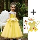 Princess Belle Beauty and Beast Cosplay Gown Costume Halloween Party Girls Dress
