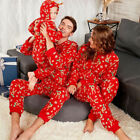 Family Matching Christmas Pajamas Set Adult Kids Deer Hooded Nightwear Sleepwear