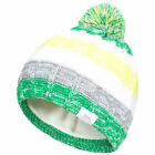 Trespass Solano Kids Hat with Pom Pom in Green and Purple Colour