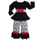 AnnLoren Girls Damask Pants & Black Knit Tunic Holiday Outfit 2/3T-11/12