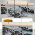 Rocky Beach with White Waters - Modern Seashore Canvas Art