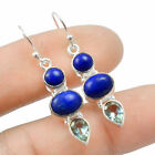 Lapis Lazuli & Blue Toapz Solid 925 Sterling Silver Earring Jewelry E-50853