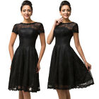Teen Girls Dress Lace Splicing Retro Vintage Fit and Flare W
