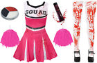 ADULT LADIES PINK ZOMBIE CHEERLEADER HALLOWEEN HORROR FANCY DRESS COSTUME OUTFIT