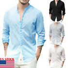US Men's Linen V Neck Long Sleeve Basic Tee T-shirt Casual Tops Blouse S-XL image