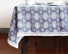 Cotton Linen Table Cloth Floral Pattern Printed Elegant Classic Home Dining Used