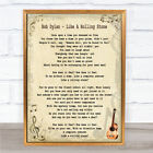 Bob Dylan Like A Rolling Stone Song Lyric Quote Print