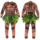 Halloween Adult Mens Moana Maui Tattoo T Shirt Pants Skirt Women Cosplay Costume