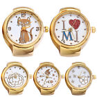 Lady Girls Golden Tone Round Elastic Alloy Quartz Watch Finger Ring Watches tall image