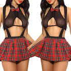 Women Sexy Lingerie School Girl Uniform Costume Outfit Mini Skirt Roleplay Sets