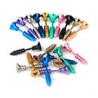 "Screw Earrings Stainless Steel 1 Pr Black Blue Green Silver Gold Rose Rainbow 1"" image"
