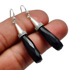 Faceted-Black Onyx Solid 925 Sterling Silver Earring Jewelry SE-17580