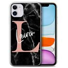 PERSONALIZED CUSTOM MARBLE INITIAL NAME GEL PHONE CASE  FOR APPLE IPHONE COVER
