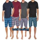 Mens Pyjamas Cotton T Shirts with Woven lounge Shorts  Set  with pockets