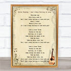 Elvis Presley - Can't Help Falling In Love Song Lyric Guitar Quote Print