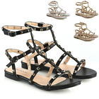 Womens Rivet Buckle Flat Sandals Ladies Open Toe Buckle Gladiator Shoes Size 3-8