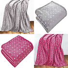 Metallic Stars Super Soft Warm Cosy Microfibre Fleece Blanket Throw, 120 x 150cm
