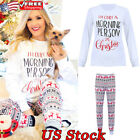 Women Christmas Home Party Pant Suit Xmas Print Trouser Long Sleeve Tops T Shirt