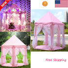 Girls Pink Princess Castle Play House Cute Kids Play Large Tent Indoor Outdoor