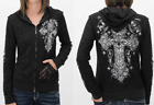 AFFLICTION Womens REVERSIBLE Hoodie Sweat Shirt ZIP UP Jacket VERSAILLES Blk $98
