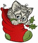 KITTEN IN STOCKING CHRISTMAS TO CUTE RARE BATHROOM TOWELS EMBROIDERED BY LAURA