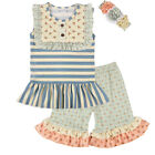 Toddler or Baby Outfit Short Sleeve with Matching Shorts and Headband