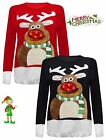 New Women's Unisex XMAS 3D Rudolph Nose Ladies Jumper With LED Flashing Lights