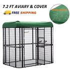 Large Bird Cage w/ Cover Outdoor Walk in Aviary Cage Waterproof Roof Heavy Duty