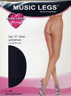 "Music Legs 801 Women's Pantyhose Sheer Crotch-less ""Big O"" Reg Black or White"