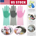 Magic Silicone Cleaning Brush Scrubber Gloves Heat Resistant Home Scrub Gloves