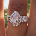 Uk Women Big Pink Sapphire Ring Crystal Fashion Engagement Bridal Jewelry Gift