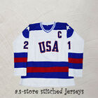 Mike Eruzione 21 Miracle on Ice USA Hockey Jersey White Men Hockey Jersey