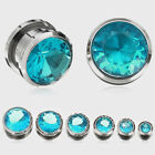 1 Or 2 Aqua / Blue Gem Screw Surgical Steel Ear Tunnels Sizes 8g to 12mm  #QSS