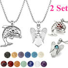 2 Set Stone Essential Oil Diffuser Hollow Angel Dolphin Locket Pendant Necklace
