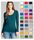 Womens T Shirt Scoop Long Sleeve Active Basic Stretch Light Weight Top S/M/L