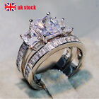 Fashion Women Cubic Zirconia Silver Rings Engagement Wedding 2pcs Set Jewelry Uk