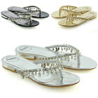 Womens Flip Flop Diamante Sandals Ladies Sparkly Toe Post Holiday Beach Slider